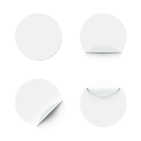 Blank White Round Adhesive Stickers With Curved Corner