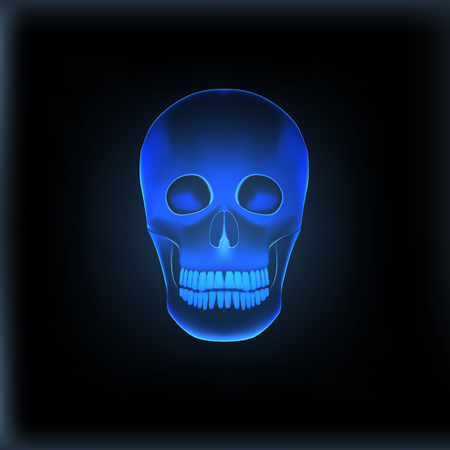 Realistic X-ray Skull Medical Image. EPS10 Vector Illustration