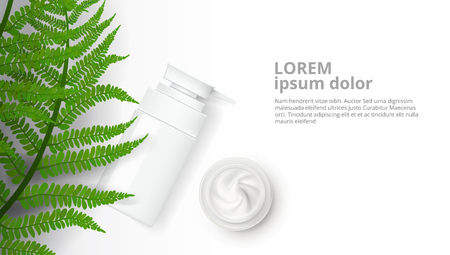 Herbal Cosmetic Bottle And Natural Cream Ad Template. EPS10 Vector