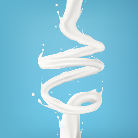 3d Milk Or Cream Spiral Jet Twisted In The Air. EPS10 Vector