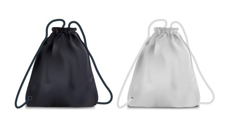 Realistic Black And White Sport Backpack Bag. EPS10 Vector 矢量图像