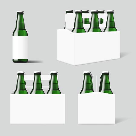 Six Green Beer Bottles White Pack. EPS10 Vector