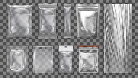 Grande Insieme Di Imballaggi Di Plastica Vuoti Trasparenti. EPS10 Vector Vettoriali