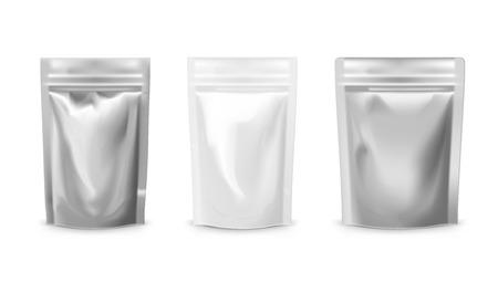 Blankofolie Plastikbeutel Lebensmittelbeutel Set. EPS10 Vektor