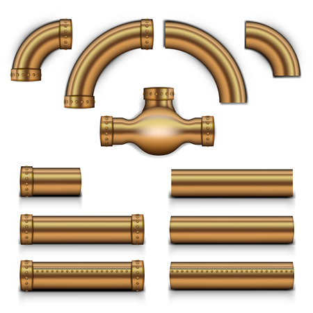 Realistic Steampunk Copper Metal Tubes Set. EPS10 Vector Illustration