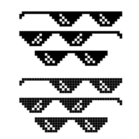 Ensemble de lunettes pixel meme populaire. Vecteur EPS10