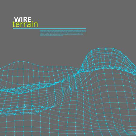 Mesh Wire Polygonal Terrain Surface. EPS10 Vector