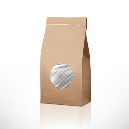 Brown Craft Paper Bag Packaging With Transparent Window