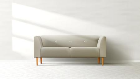 Livingroom Interior Clean Wall With Grey Sofa