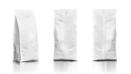 Set Of Realistic Plastic Food Tall Bags. EPS10 Vector 免版税图像 - 112741260