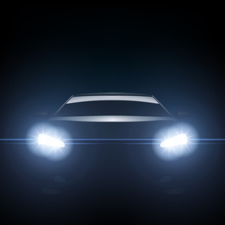 Dark Silhouette Of Sports Car With Headlight. EPS10 Vector 일러스트