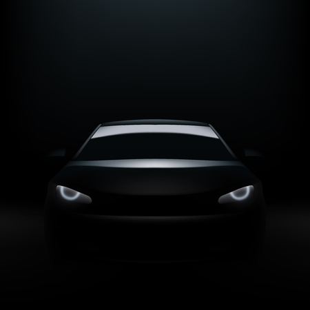 Dark Silhouette Of Sports Car With Headlight