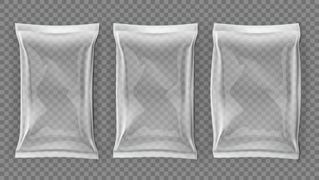 Paquete de bolsa delgada y gruesa en blanco realista en blanco