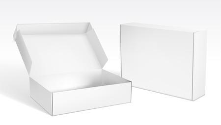 Boîtes d'emballage vierges réalistes ouvertes et fermées