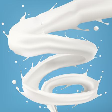 3d Milk Or Cream Spiral Jet Tornado Twisted In The Air Ilustração Vetorial