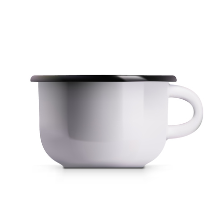 Realistic Enamel Metal White Mug Isolated On White Background