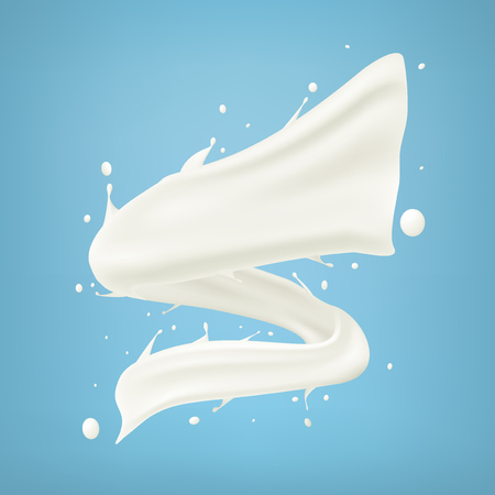 Twisted Milk Splash Spiral Isolated On Blue Background
