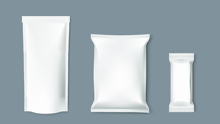 Simple Blank Doy Pack, Pillow Pack And Chocolate Vectores
