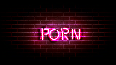 Realistic Neon Pink Light Sign Decoration On The Wall