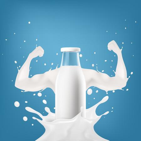 Realistische transparante doorzichtige melkfles reclamesjabloon