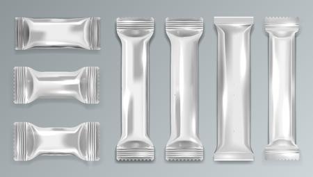 Silver Chocolate Bar Polyethylene Package. EPS10 Vector