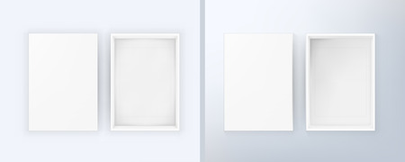 Open Blank White Box With Soft And Side Light  イラスト・ベクター素材