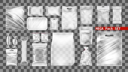 Big Transparent Empty White Plastic Pack Set