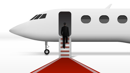 Businessman Boarding In Executive Airliner Corporate Jet. EPS10 Vector Stock Vector - 124853302