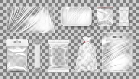 Big Transparent Empty White Plastic Pack Set Vetores
