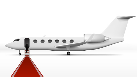 Businessman Boarding In Executive Airliner Corporate Jet. EPS10 Vector