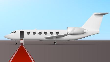 Imbarco dell'uomo d'affari nel jet aziendale esecutivo dell'aereo di linea. EPS10 Vector Vettoriali