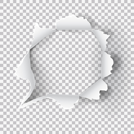 Torn Paper Hole On Transparent Background. EPS10 Vector