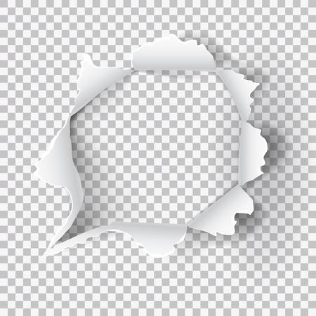 Trou de papier déchiré sur fond transparent. Vecteur EPS10