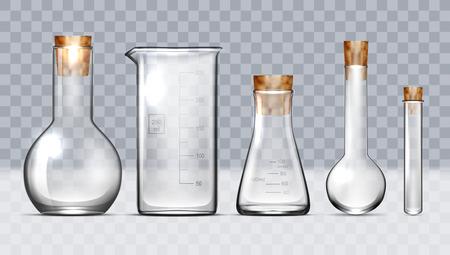 Ensemble d'équipement de laboratoire en verre réaliste. Flacons, Béchers. Vecteur EPS10