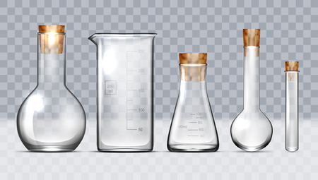 Realistic Glass Laboratory Equipment Set. Flasks, Beakers. EPS10 Vector Illustration