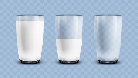Bicchieri trasparenti realistici vuoti, a metà e pieni di latte. EPS10 Vector