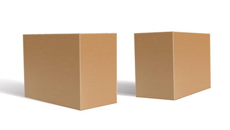 3D Clear Blank Cardboard Package Boxes Set. EPS10 Vector Illustration