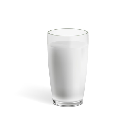 Realistic Milk In A Glass With Shadow. EPS10 Vector Standard-Bild - 121023105