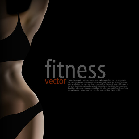 Realistic Female Fitness Club Poster Template. EPS10 Vector