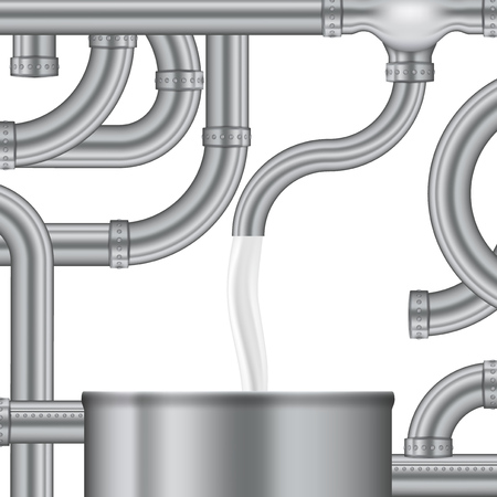 Concept Process Of Filling The Milk Storage Tank. EPS10 Vector
