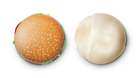 Open And Packed Tasty Burger On White Background. EPS10 Vector Stock Illustratie