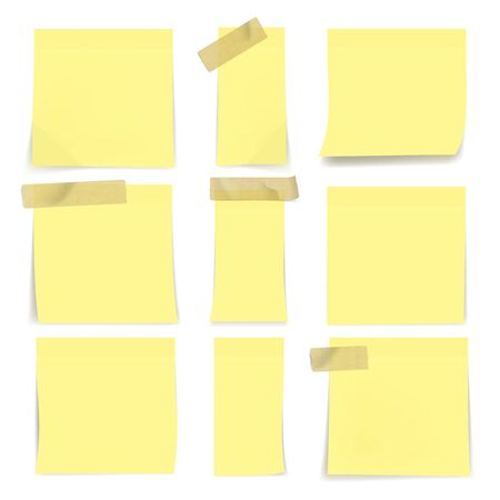 Yellow Sticky Notes On Wall On White Background