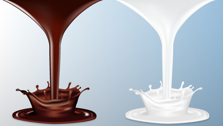 Realistic Chocolate And Milk Flow With Splash. EPS10 Vector