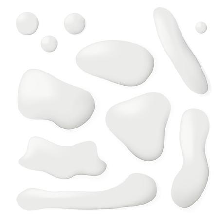 Conjunto de goteos de charco de leche derramada realista. Vector EPS10 Ilustración de vector