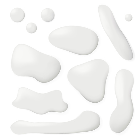 Realistic Spilled Milk Puddle Drips Set. EPS10 vector