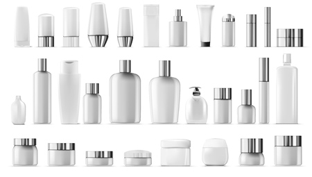 Blank Empty And Clean White Plastic Cosmetic Package Big Set Vector Illustratie