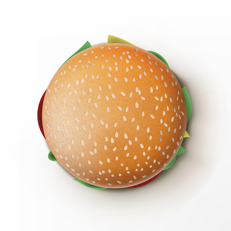 Open And Packed Tasty Burger On White Background. EPS10 Vector Ilustração