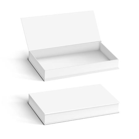 Realistisches weißes Karton-Set zum Öffnen und Schließen