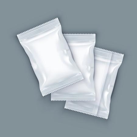 White Blank Foil Food Packing. EPS10 Vector
