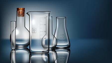 Realistic Glass Laboratory Equipment Set. Flasks, Beakers. EPS10 Vector